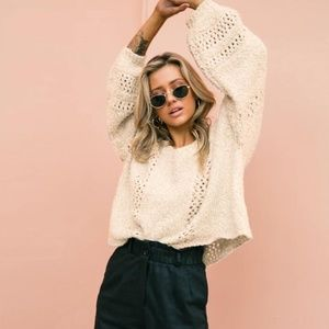 Hollow Out Beige Oversized Sweater